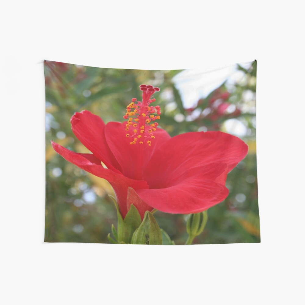 Soft Red Hibiscus With Natural Garden Background Wall Tapestry