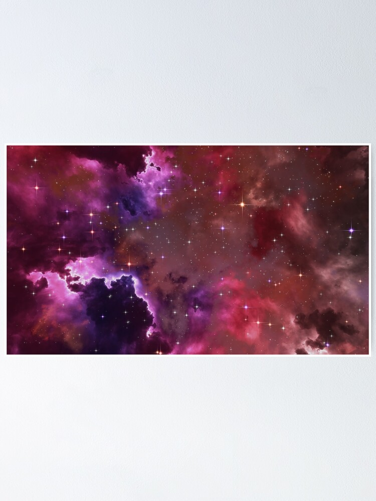 Alternate view of Fantasy nebula cosmos sky in space with stars (Purple/Pink/Magenta) Poster