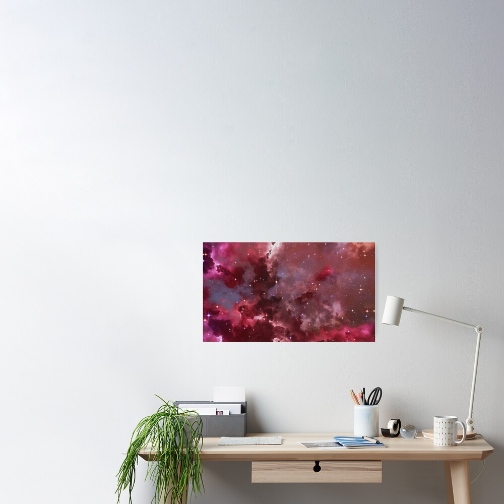 Fantasy nebula cosmos sky in space with stars (Purple/Pink/Magenta) Poster