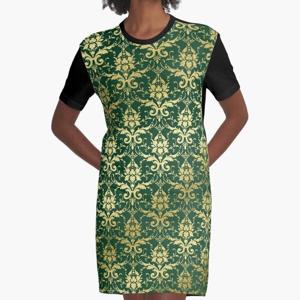 Damask Glitter Gold Dark Green Classic Elegant Graphic T-Shirt Dress