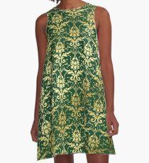 Damask Glitter Gold Dark Green Classic Elegant A-Line Dress