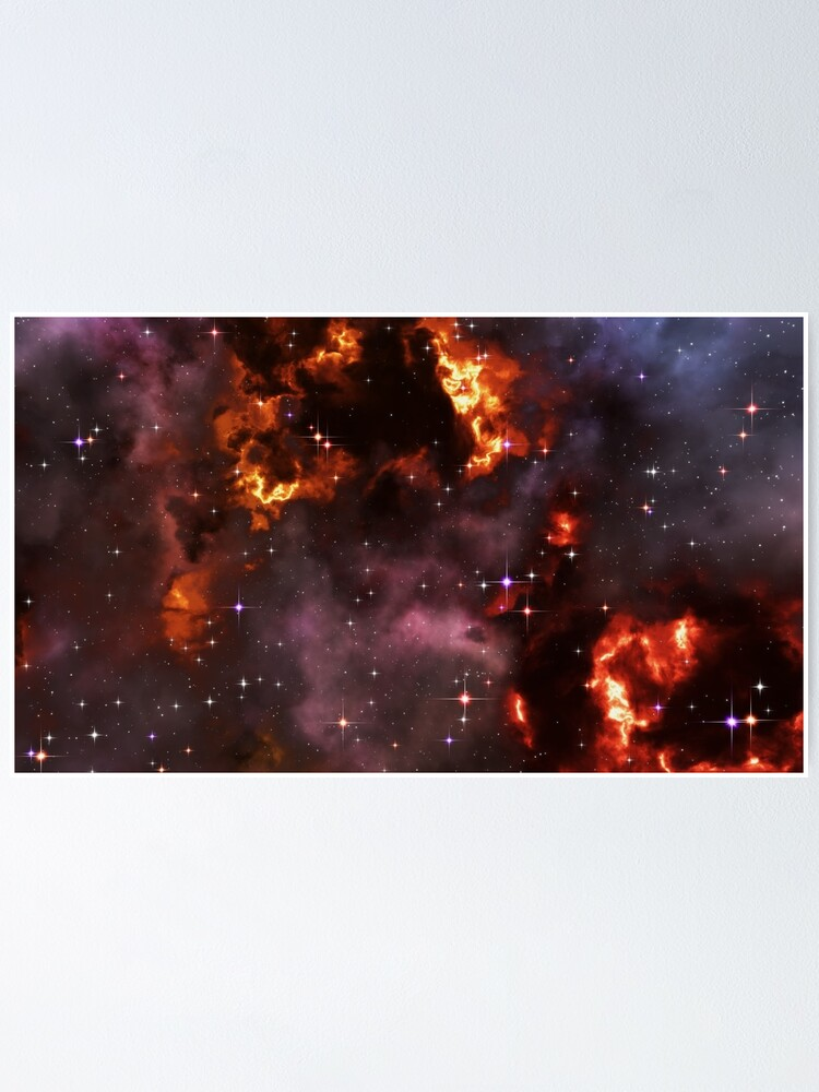 Alternate view of Fantasy nebula cosmos sky in space with stars (Purple/Yellow/Orange/Red) Poster