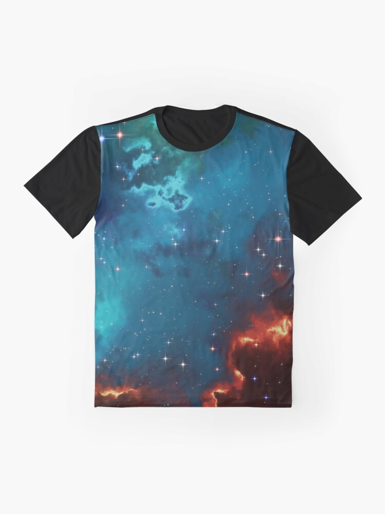 Alternate view of Fantasy nebula cosmos sky in space with stars (Blue/Cyan/Green/Yellow/Orange/Red) Graphic T-Shirt