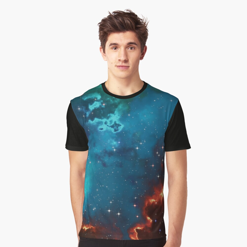 Fantasy nebula cosmos sky in space with stars (Blue/Cyan/Green/Yellow/Orange/Red) Graphic T-Shirt