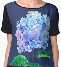 blue purple hydrangea Women's Chiffon Top