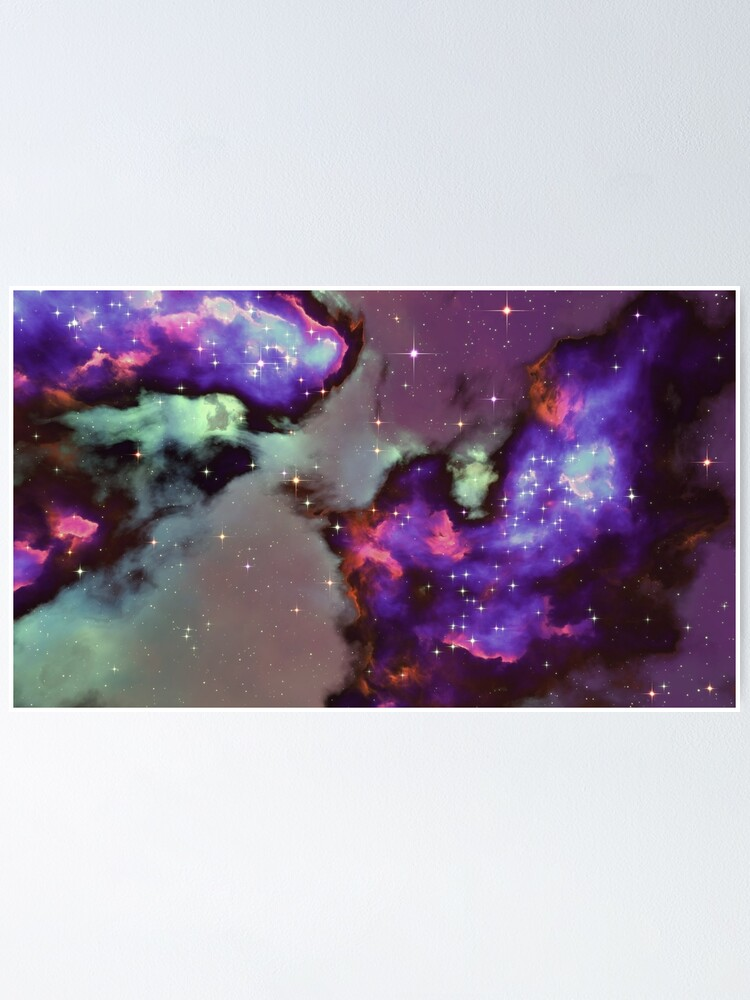 Alternate view of Fantasy nebula cosmos sky in space with stars (Purple/Cyan/Blue/Pink/Magenta) Poster