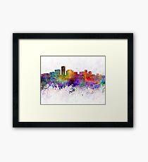 Long Beach skyline in watercolor background Framed Print