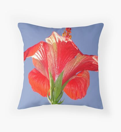 Side View of Scarlet Red Hibiscus In Bright Light Throw Pillow