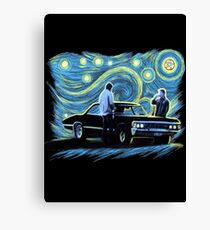 supernatural starry night sam dean winchesters  baby j2 Canvas Print