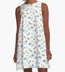 Watercolor summer pattern with floral theme A-Line Dress