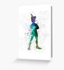 Peter Pan in watercolor Greeting Card