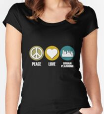 Peace Love Urban Planning Women's Fitted Scoop T-Shirt