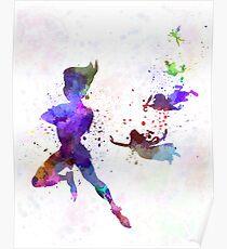 Peter Pan in watercolor Poster