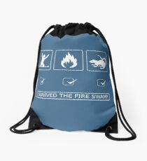 I survived the fire swamp Drawstring Bag