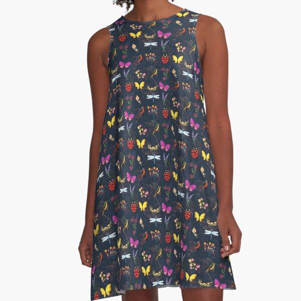 Flowers, Butterflies, Bugs and Birds A-Line Dress