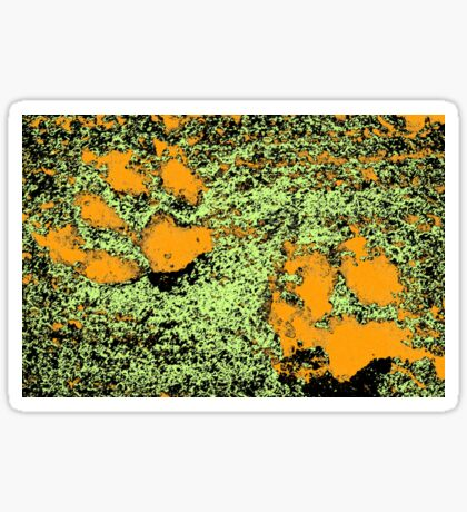 Paw Prints in Orange, Lime and Black Sticker