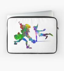 Peter Pan and Captain Hook in watercolor Laptop Sleeve