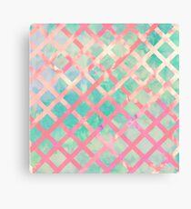 Girly Retro Turquoise Pink Watercolor Lattice Canvas Print