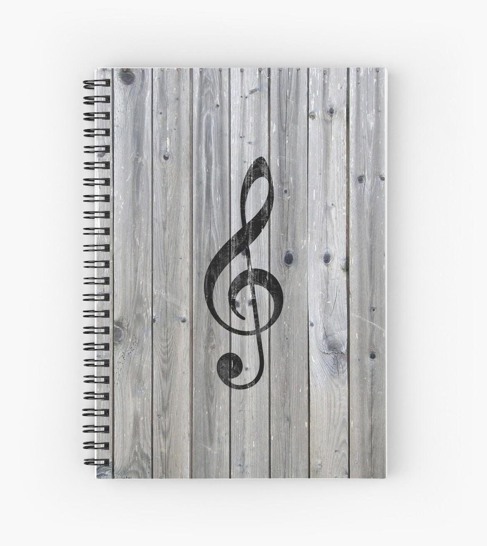 Weinlese-schwarze Musiknote dreifaches Clef graues Holz von GirlyTrend
