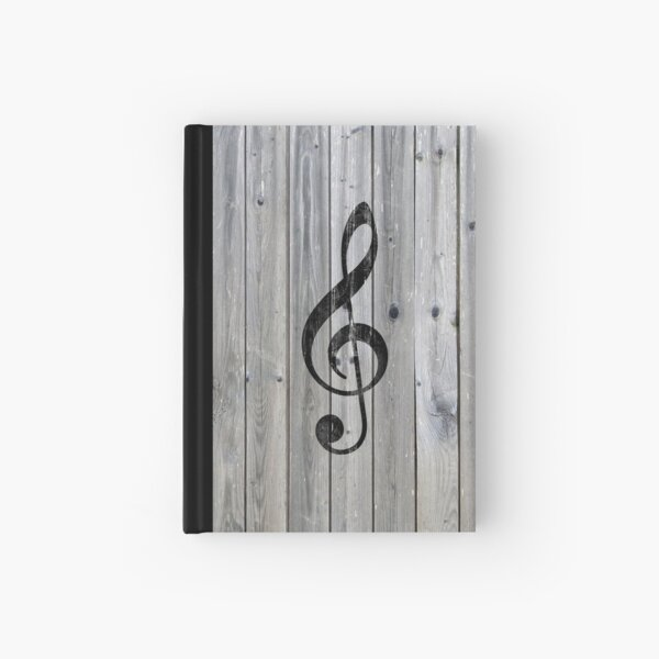 Vintage black music note Treble Clef gray wood Hardcover Journal