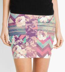 Retro Pink turquoise Floral Stripe Chevron Pattern Mini Skirt
