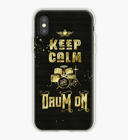 Keep Calm and Drum On Gold Glitter Grunge iPhone Case
