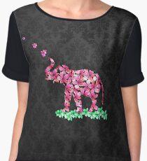 Retro Flower Elephant Pink Sakura Black Damask Women's Chiffon Top