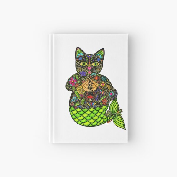 MERMAID LUCKY BLACK CAT Hardcover Journal
