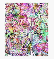 Abstract Girly Neon Rainbow Paisley Sketch Pattern Photographic Print