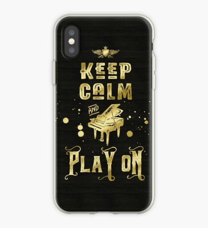 Keep Calm and Play On Gold Piano Grunge iPhone Case