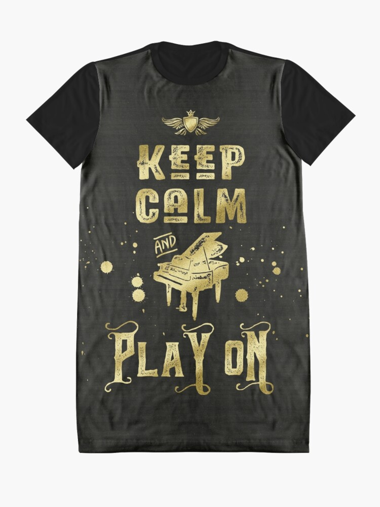 Alternate view of Keep Calm and Play On Gold Piano Grunge Graphic T-Shirt Dress