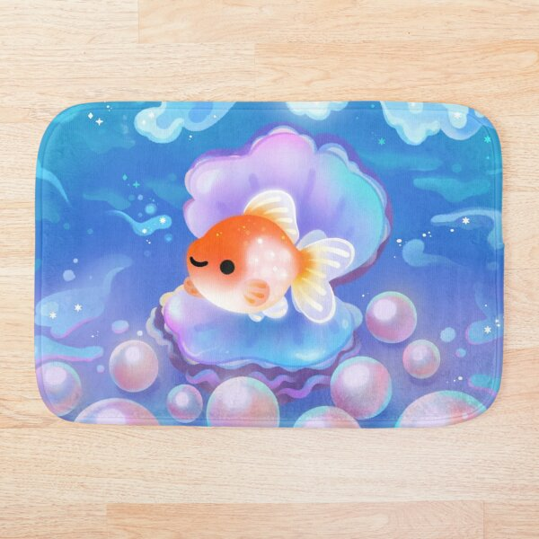 Pearlscale goldfish with pearls Bath Mat