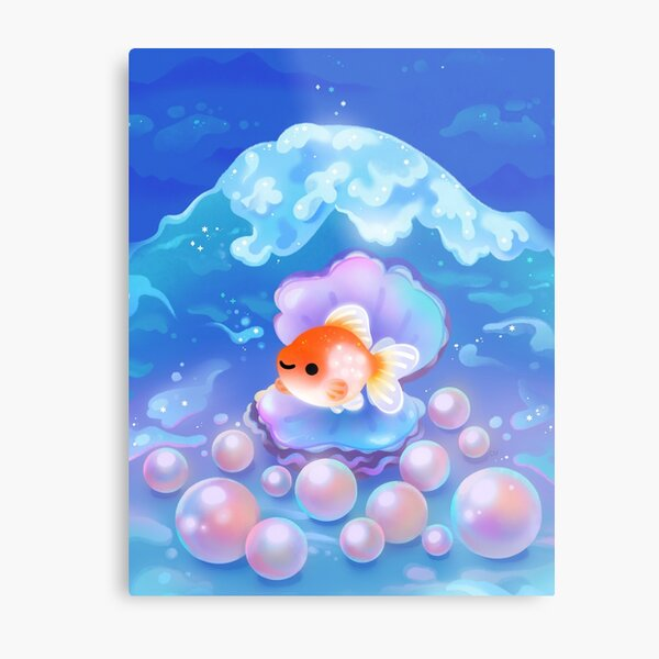 Pearlscale goldfish with pearls Metal Print