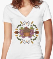 Autumnal Tea Party Women's Fitted V-Neck T-Shirt