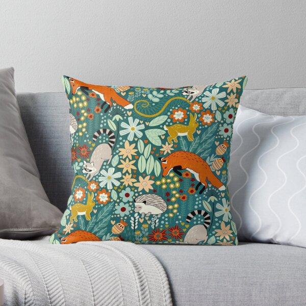 Textured Woodland Pattern  Throw Pillow