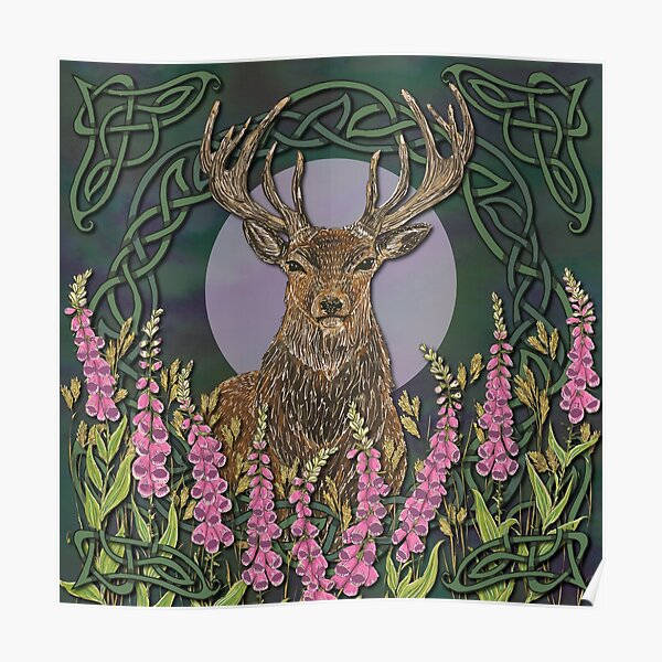 Celtic Stag Poster