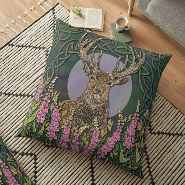 Celtic Stag Floor Pillow