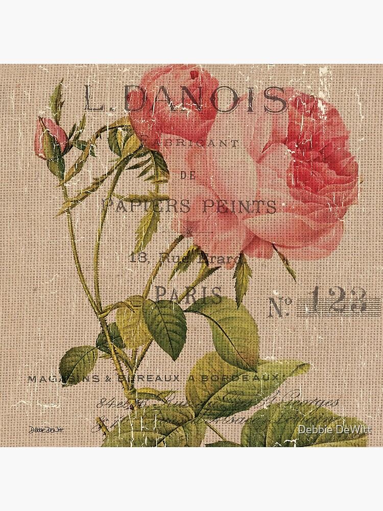 Vintage Burlap Floral 2 by DebbieDeWitt
