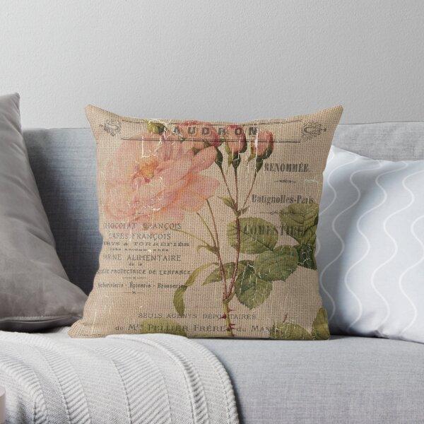 Vintage Burlap Floral 4 Throw Pillow