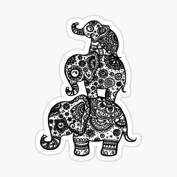 Elephant Family in Black Sticker