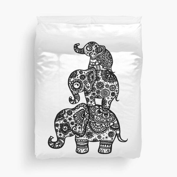 Elephant Family in Black Duvet Cover