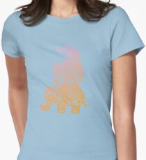 Elephant Family in Color Womens Fitted T-Shirt