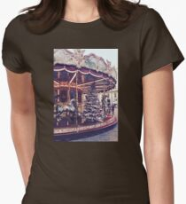 Vintage Christmas Carousel  Womens Fitted T-Shirt