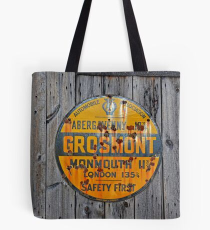 Old Grosmont Wales, Automobile Billboard, enamelled   Tote Bag