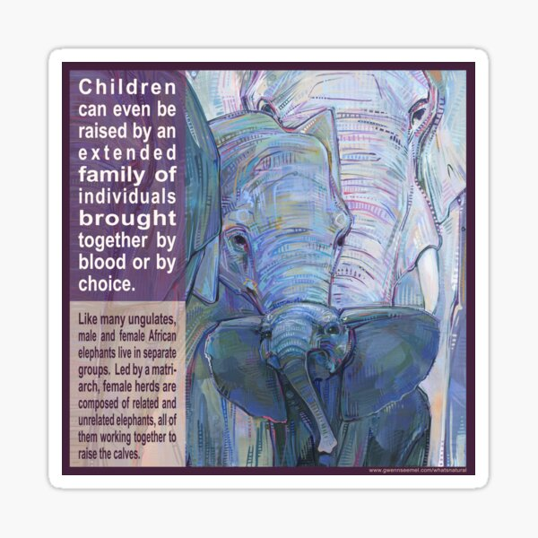 It Takes a Herd to Raise a Child (African Elephant) Sticker
