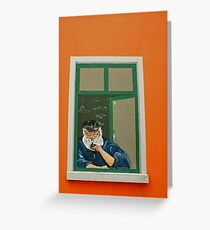 old Fisherman at an window - wall painting Greeting Card