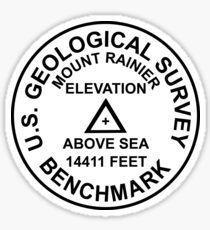 Mount Rainier, Washington USGS Style Benchmark Sticker