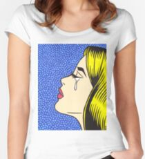 Blonde Crying Comic Girl Women's Fitted Scoop T-Shirt