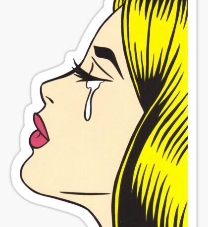 Blonde Crying Comic Girl Sticker