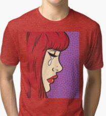 Red Bangs Crying Comic Girl Tri-blend T-Shirt